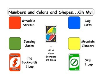 Teaching Nutrition in P.E.: Numbers and Colors and Shapes...Oh My! Activity Sign