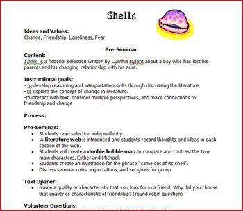"Teaching Pack for ""Shells"" by Cynthia Rylant"