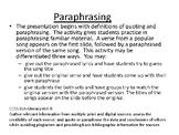 Teaching Paraphrasing Using Song Lyrics