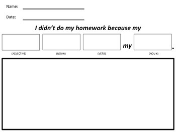 """Teaching Parts of Speech with """"I Didn't Do My Homework Because"""" by Davide Cali"""