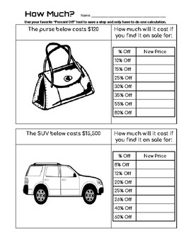 Teaching Percent Off Without Subtraction - Print, DIGITAL, 7 Tools, 3 Worksheets