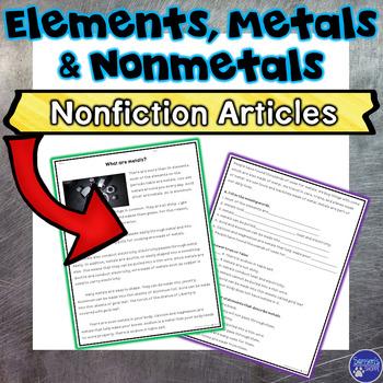 Elements, Metals and Nonmetals Nonfiction Articles and Activities