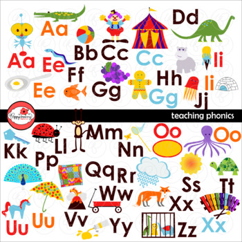 Teaching Phonics Clipart and Flashcards by Poppydreamz NOW WITH LINE ART