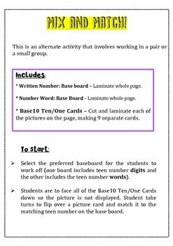 Teaching Place Value - Teen Numbers