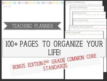 Teaching Planner Rainbow 2nd Grade Teacher