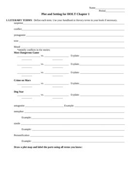 Teaching Plot and Setting - a Review Worksheet