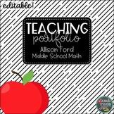 Teaching Portfolio Black & White w/ Apple  | EDITABLE