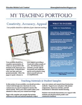 Teaching portfolio checklist for new teachers or teacher for Teaching portfolio template free