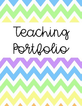 Teaching Portfolio Cover Pages and Tab Labels (Colorful Pastel Chevron)
