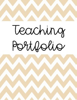 Teaching Portfolio Cover Pages and Tab Labels (Gold Chevron)