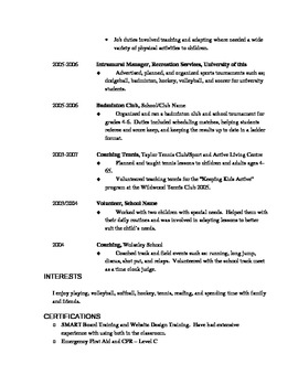 Teaching Position Resume