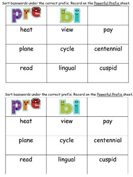 Teaching Prefixes and Basewords: Powerful Prefixes