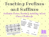 Teaching Prefixes and Suffixes - Word Game Challenge Included