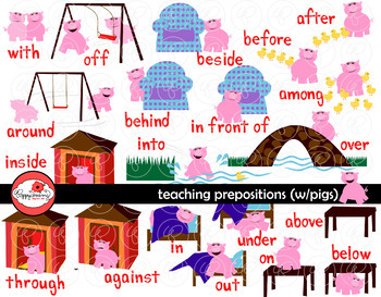 Teaching Prepositions with Pigs Clipart and Flashcards by Poppydreamz