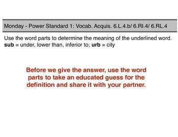 Teaching Presentations Week 2 - Language Arts Power Standards - Grade Six