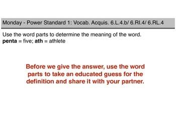 Teaching Presentations Week 4 - Language Arts Power Standards - Grade Six