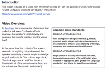 Teaching Public Speaking Skills With Onion Ted Talk Parody