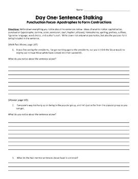 Teaching Punctuation Through Mentor Sentences: Apostrophes to Form Contractions
