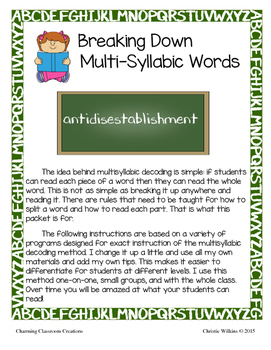 Teaching Reading of Multisyllabic Words
