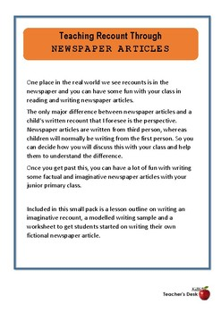 Teaching Recount Through Newspaper Articles