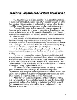 Teaching Response to Literature