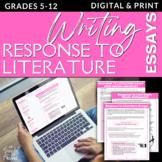 Response to Literature Literary Analysis Literary Response Essay Unit, Lessons