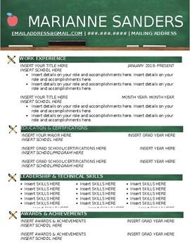 Teaching Resume (Word & Editable Format)