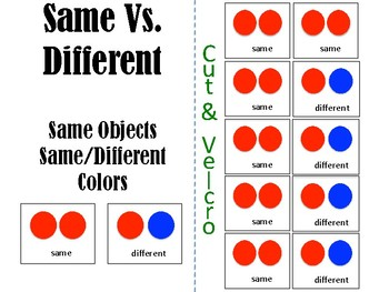 Teaching Same Versus Different: color Edition