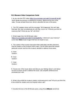 Sept 11th Lesson Plan:Common Core activity Analyzing the Nat'l Sept. 11th Museum