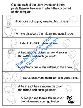 graphic relating to The Mitten Story Printable named Coaching Sequencing with Jan Bretts The Mitten Printable Worksheet