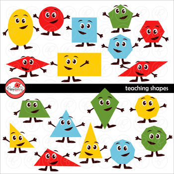 Teaching Shapes Clipart and Flashcards by Poppydreamz