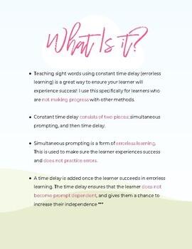 Teaching Sight Words Using Errorless Learning (preK-2)