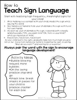 Teaching Sign Language--Parent Handout Freebie