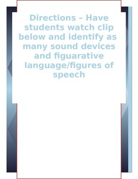 Teaching Sound Device & Figuarative Language With Media *REVISED to include link