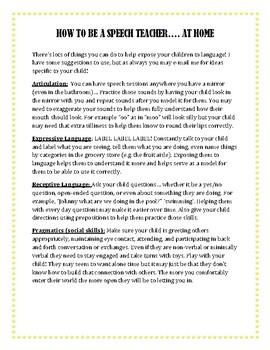 Teaching Speech Skills at Home