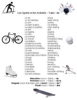 """Teaching Sports and Activities with """"Faire de"""""""