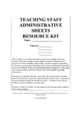 Teaching Staff Administrative Sheets Resource Kit
