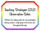 Teaching Strategies GOLD Observation Notes
