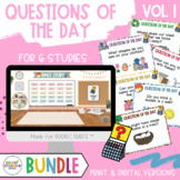 BUNDLE- Q's OF THE DAY for 6 STUDIES! Creative Curriculum Teaching Strategies