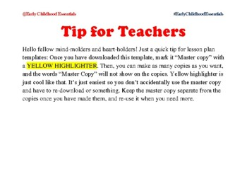 Teaching Strategies Gold Lesson Template: Week-at-a-Glance ONLY
