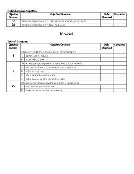 Teaching Strategies Objective Checklist for Kindergarten