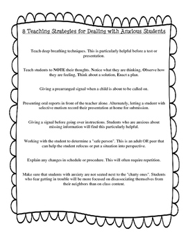 Teaching Strategies for Anxious Students