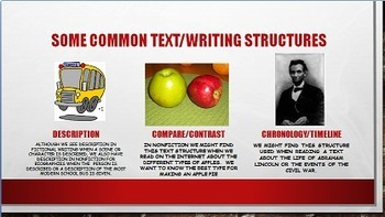 Teaching Structures Using Informational Text Power Point for Reading and Writing
