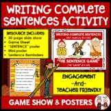 Complete Sentences Writing Activity