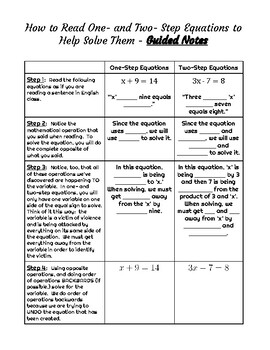 Teaching Students How To READ One- and Two-Step Equations - Notes and Worksheets