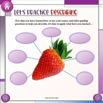 GROWING LESSON Teach Students to DESCRIBE Teletherapy NO PREP NO PRINT