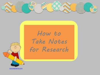 Teaching Students how to Take Notes for Research