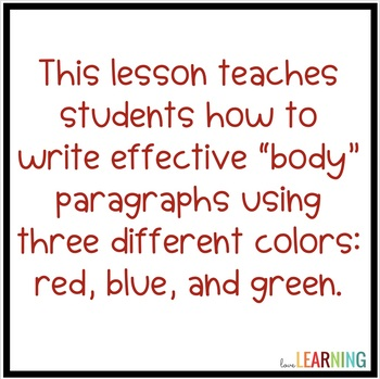 Writing Paragraphs Using the Color Technique {Lesson and Practice}