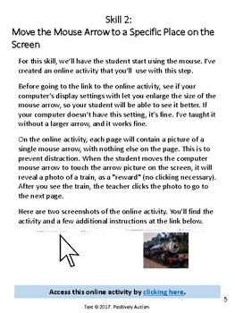 Teaching Students with Autism to Use a Computer Mouse: Guide w/Online Activities