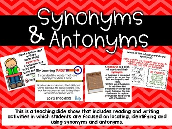 Teaching Synonyms and Antonyms through Reading and Writing  Slide Show